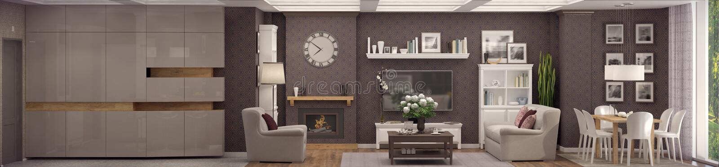 representación 3D de la sala de estar de un apartamento clásico stock de ilustración