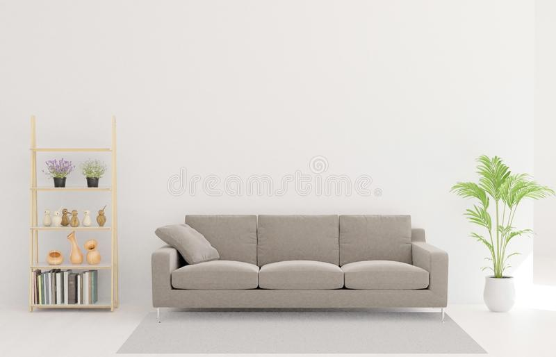 representación 3d de la sala de estar, sofá, árbol, alfombra ilustración del vector