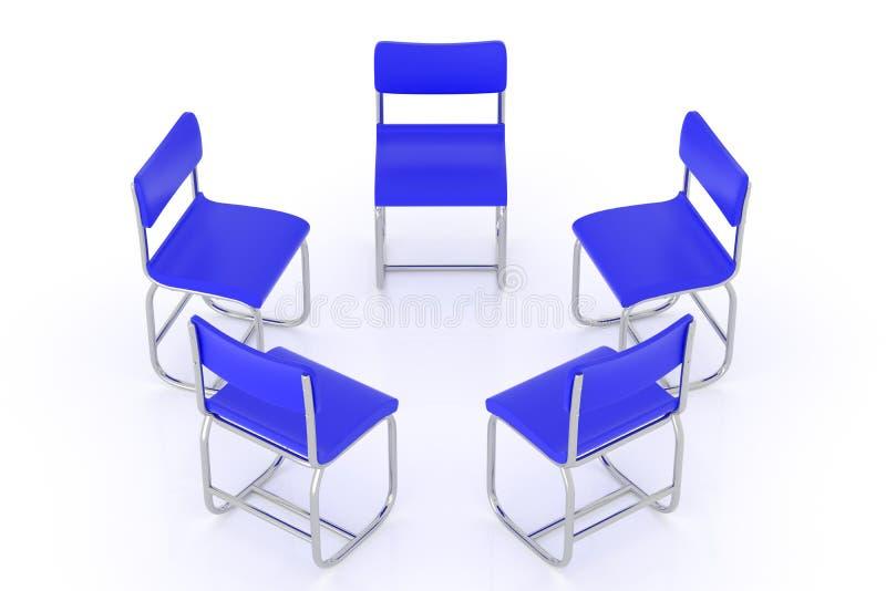 representación 3d de la silla azul redondo dispuesta stock de ilustración