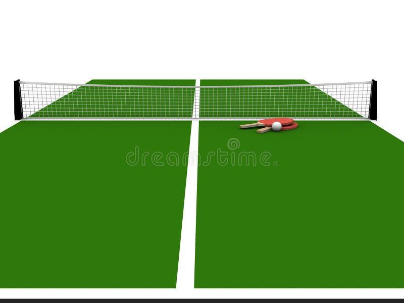 representación 3D de la tabla y de la red de los tenis de mesa aisladas fotos de archivo libres de regalías
