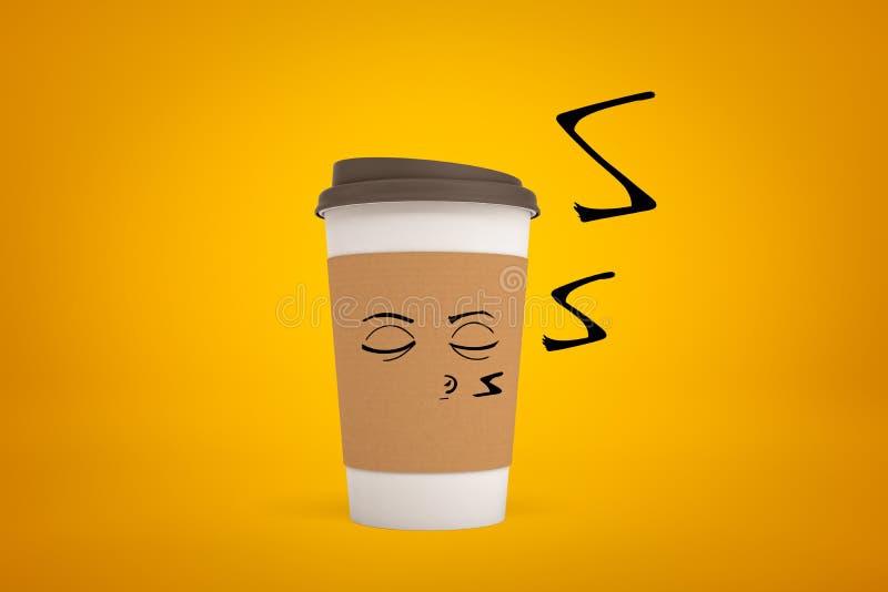 representación 3d de la taza de papel del café con la cara sonriente de la historieta en fondo amarillo fotos de archivo libres de regalías