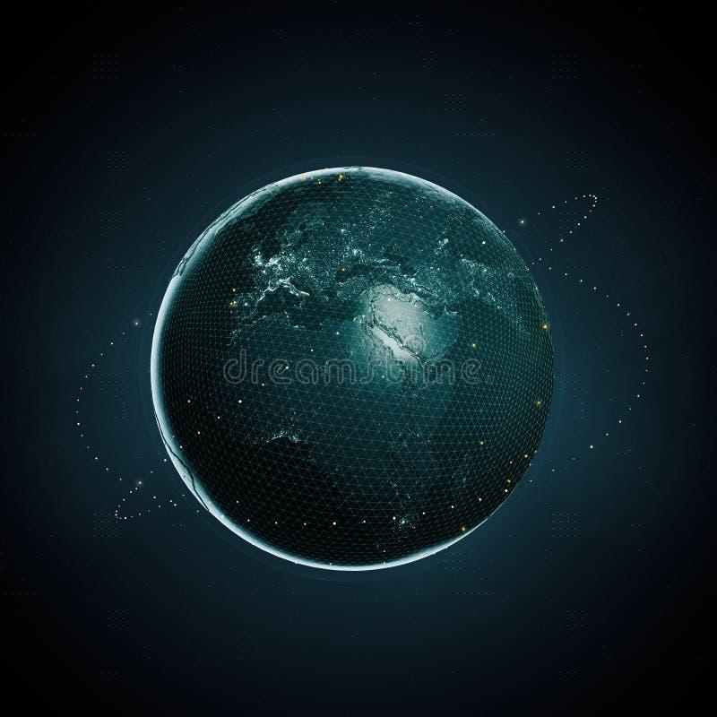 representación 3d de la tierra del planeta como imagen digital en fondo oscuro Datos grandes de la moneda crypto clobal de Blockc ilustración del vector