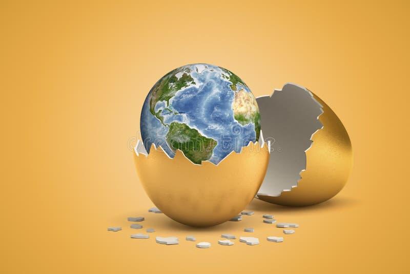 representación 3d de la tierra del planeta que acaba de tramar hacia fuera del huevo de oro stock de ilustración