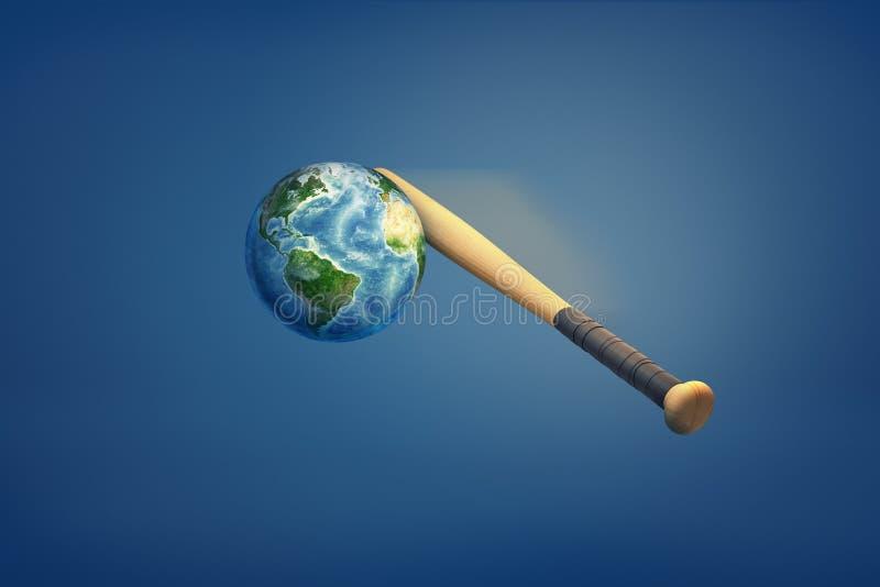 representación 3d de la tierra que es golpeada por un bate de béisbol libre illustration