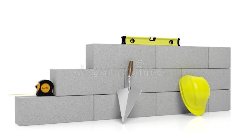 representación 3D de las herramientas y de los ladrillos de la albañilería ilustración del vector