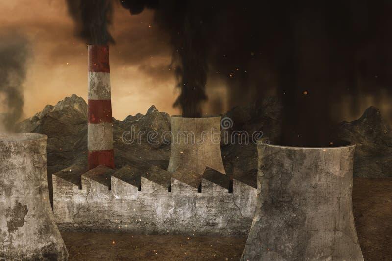 representación 3d de las incineradoras y de las centrales eléctricas con los humos tóxicos en el ambiente apocalíptico stock de ilustración