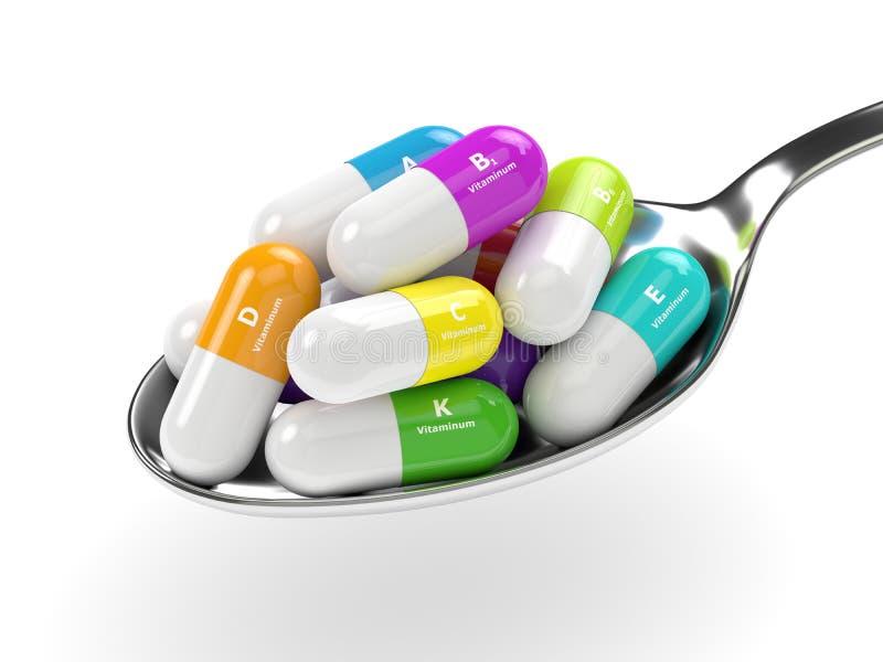 representación 3d de las píldoras de la vitamina en la cuchara stock de ilustración