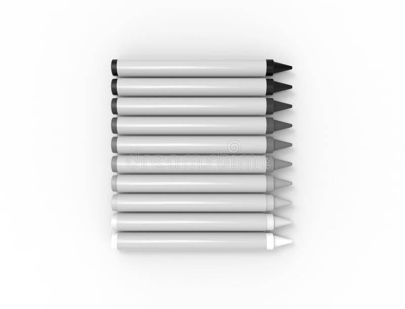 representación 3D de los creyones múltiples aislados en el fondo blanco stock de ilustración