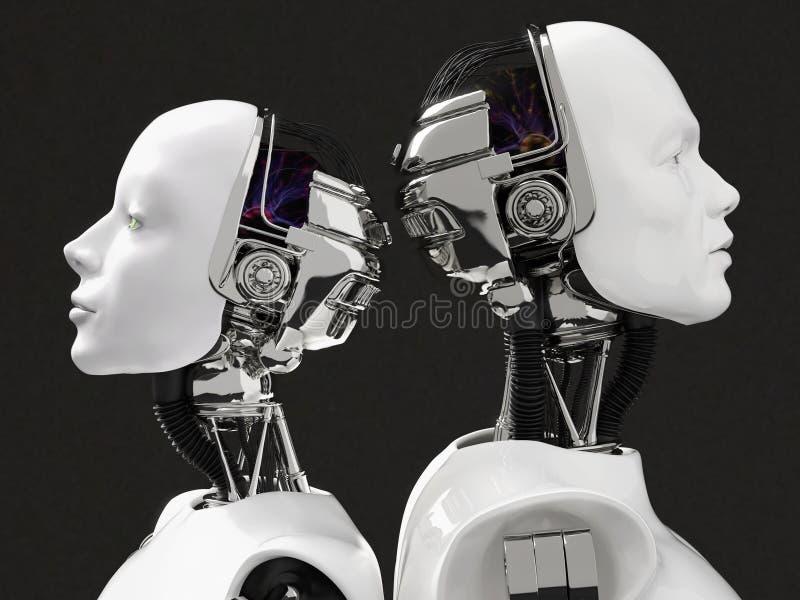 representación 3D de los jefes de un robot femenino y masculino ilustración del vector