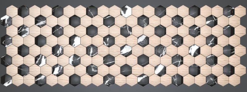 representación 3D de los paneles de pared del hexágono, mármol negro material con la haya de madera de la chapa para su proyecto  stock de ilustración
