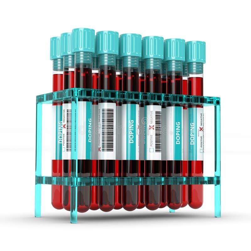 representación 3D de los tubos de ensayo de doping antis de la sangre ilustración del vector