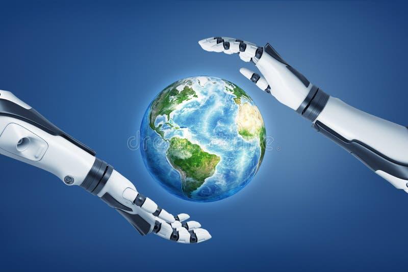 representación 3d de manos robóticas alrededor de la tierra en fondo azul foto de archivo