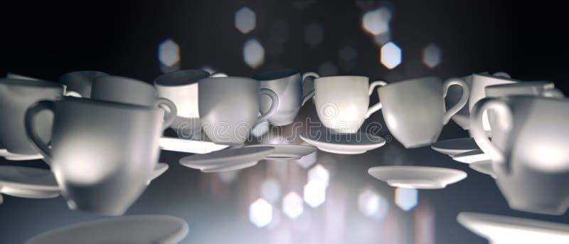 representación 3d de muchas tazas de café que flotan en la gravedad cero libre illustration