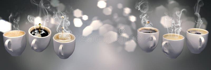 representación 3d de muchas tazas de café que flotan en la gravedad cero ilustración del vector