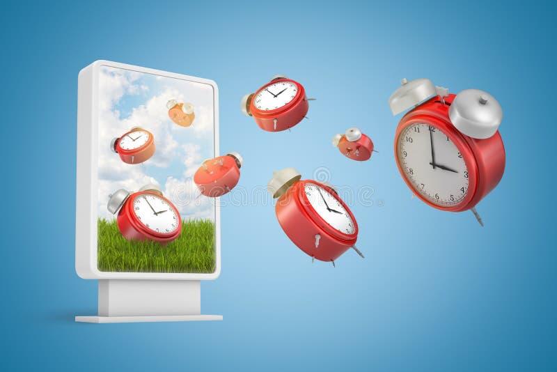 representación 3d de muchos despertadores rojos que vuelan hacia fuera de la pantalla de la presentación de la información en fon libre illustration