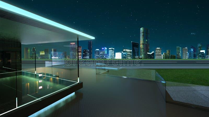 representación 3D de un balcón de cristal moderno con horizonte de la ciudad fotos de archivo libres de regalías