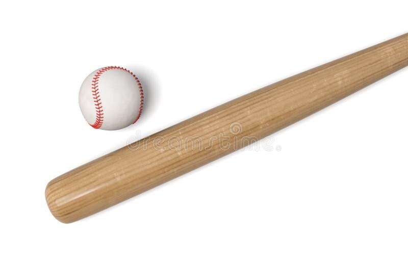 representación 3d de un bate de béisbol de madera con el abrigo negro en la manija que miente cerca de una bola del cuero blanco libre illustration