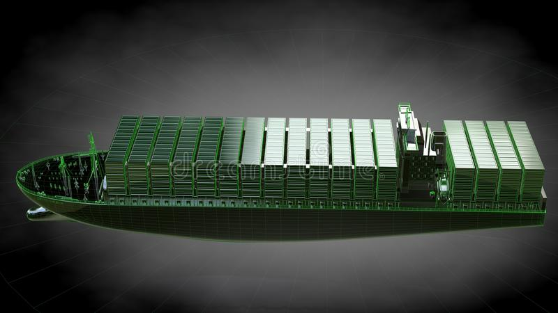 representación 3d de un buque de carga enorme reflexivo con el verde resumido stock de ilustración