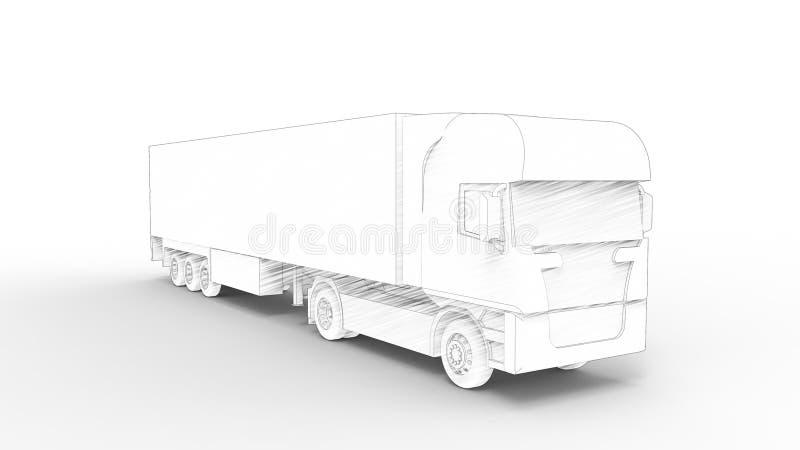 representación 3d de un camión del cargo aislado en el fondo blanco libre illustration