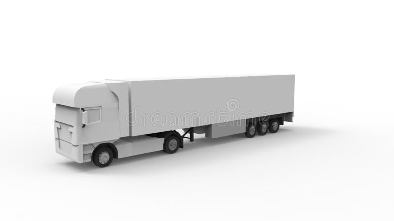 representación 3d de un camión del cargo aislado en el fondo blanco stock de ilustración