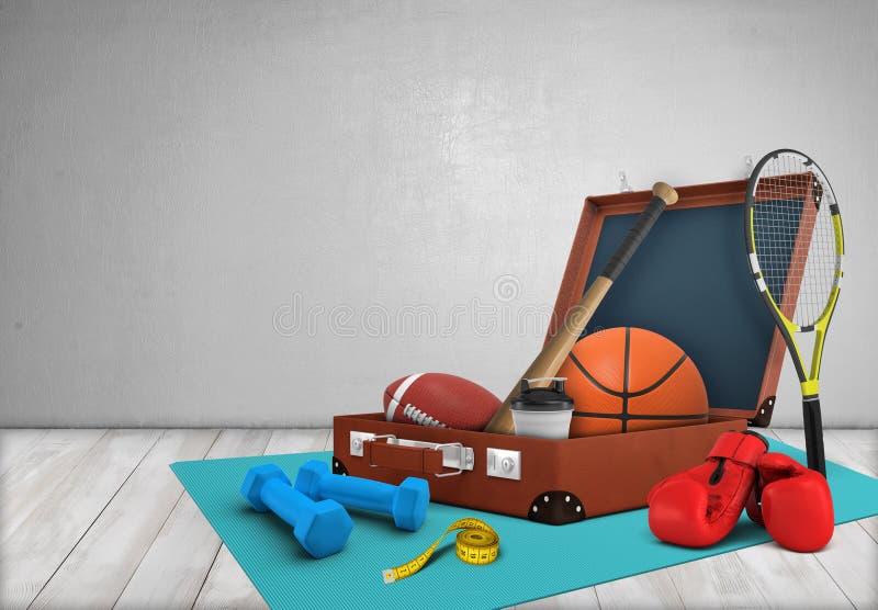 representación 3d de un caso abierto con el equipo de deportes, puesta en una estera del gimnasio que miente en piso de madera stock de ilustración