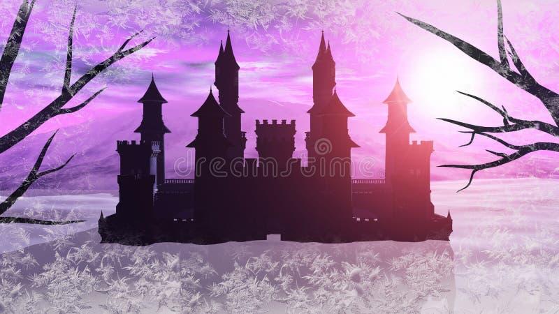 representación 3D de un castillo del invierno del cuento de hadas libre illustration