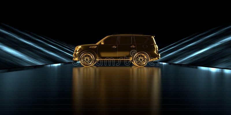 representación 3d de un coche de oro dentro de un camino futurista con oscuridad fotos de archivo