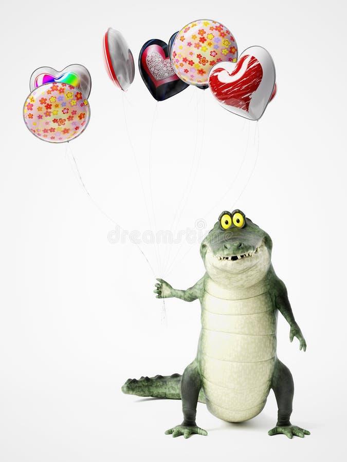 representación 3D de un cocodrilo de la historieta que sostiene los globos stock de ilustración