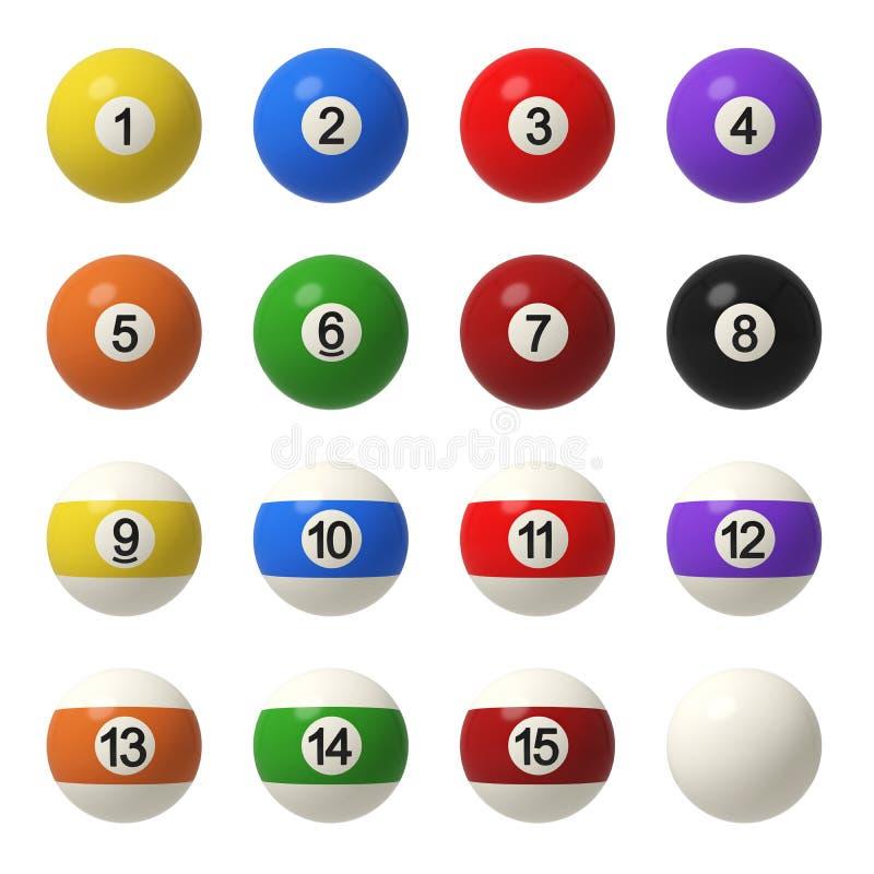 representación 3d de un conjunto completo de bolas de billar en vista delantera con diversos colores y números libre illustration
