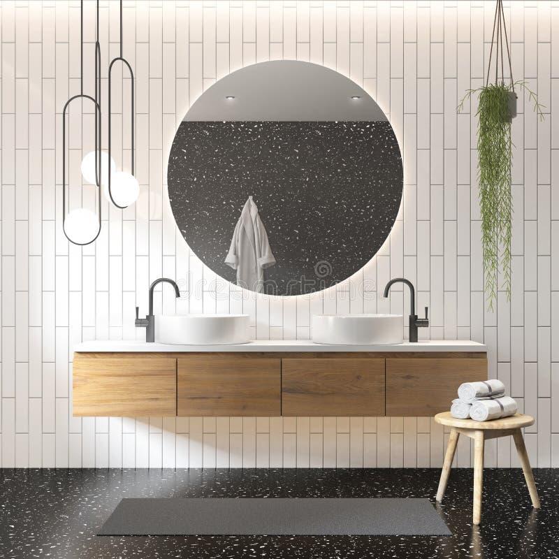 representación 3d de un cuarto de baño moderno contemporáneo blanco y negro stock de ilustración