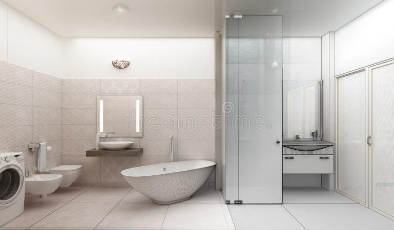 Representación 3D de un diseño interior del cuarto de baño moderno ilustración del vector