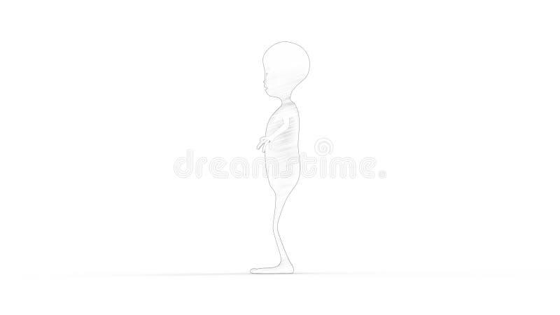 representación 3D de un extranjero modelo aislado en el fondo blanco stock de ilustración