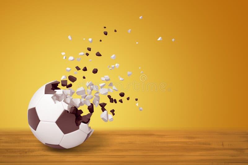 representación 3d de un fútbol que disuelve en partículas en un lado, en superficie de madera en fondo amarillo con mucha copia stock de ilustración