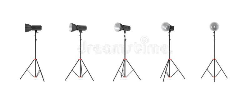 representación 3d de un flash de la foto del estudio con el soporte del reflector en diversos ángulos fotos de archivo