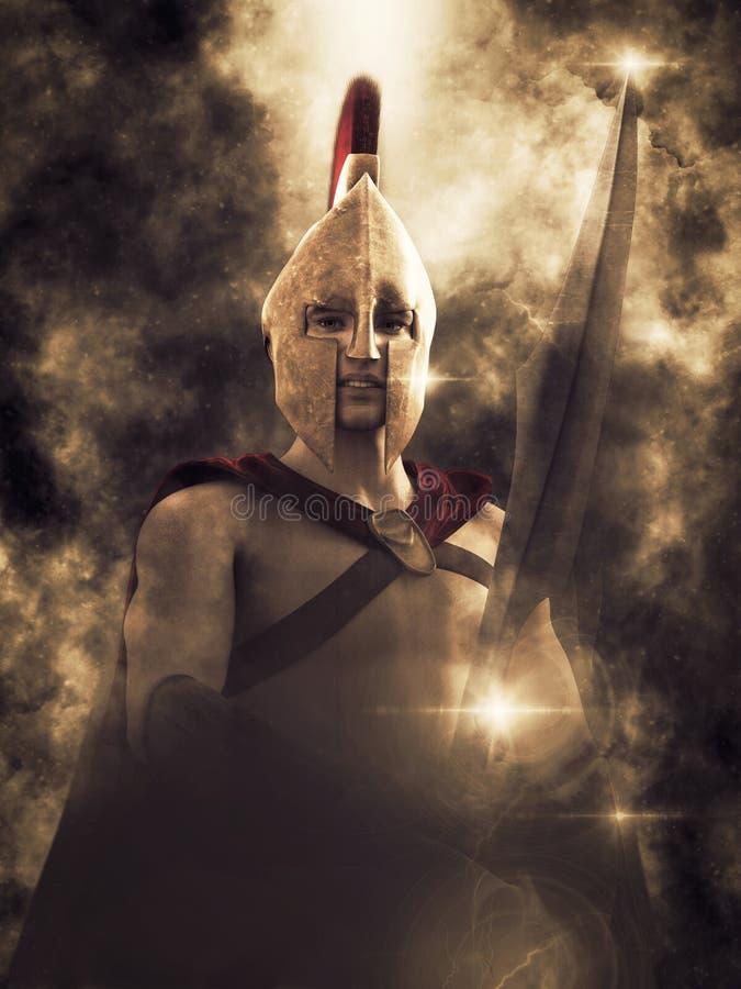 representación 3D de un guerrero espartano audaz stock de ilustración