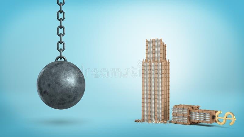 representación 3d de un hierro negro que arruina la ejecución de la bola al lado de un edificio de oficinas quebrado con una mues fotos de archivo libres de regalías