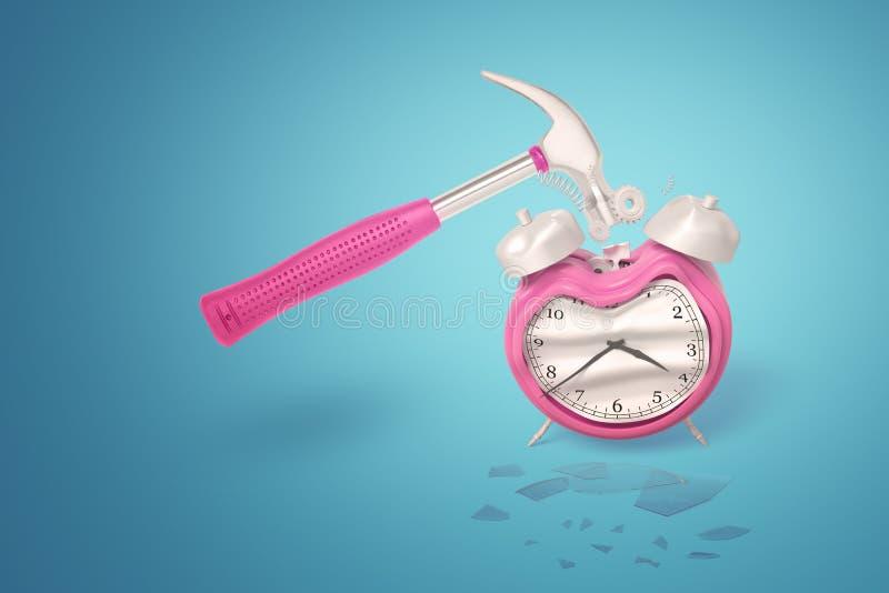 representación 3d de un martillo del metal con una manija rosada que estrella un despertador rosado en un fondo azul stock de ilustración