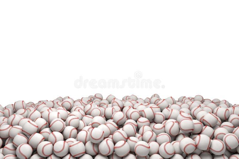 representación 3d de un montón enorme de los béisboles blancos con la costura roja en un fondo blanco libre illustration