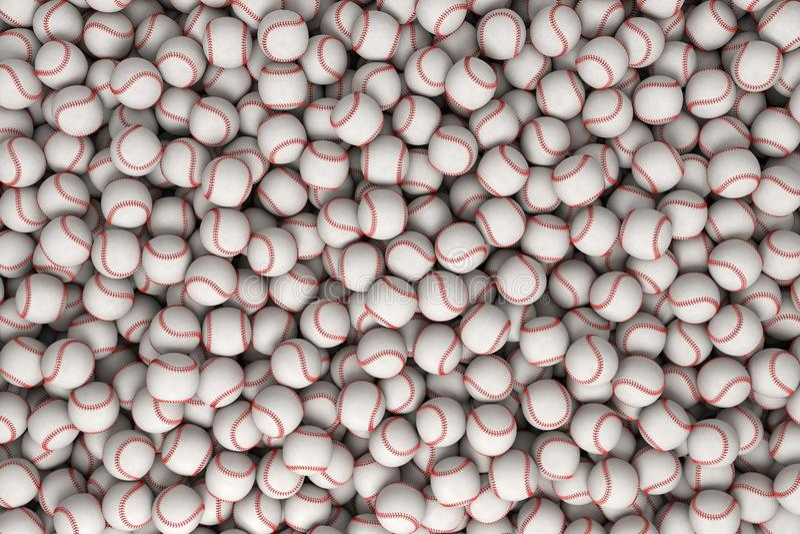 representación 3d de un montón enorme de los béisboles blancos con la costura roja en la visión superior ilustración del vector