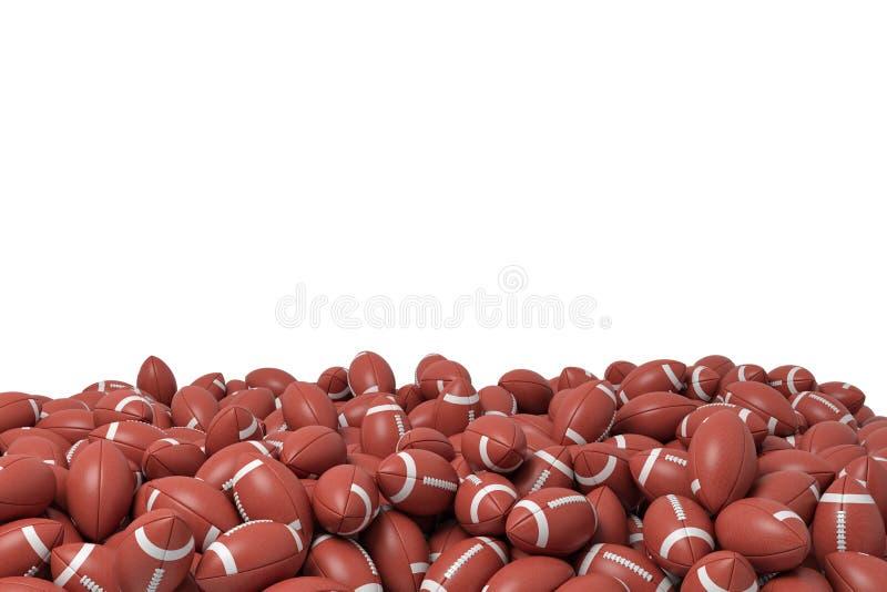 representación 3d de un montón hecho de las bolas incontables del fútbol americano que mienten en uno a en un fondo blanco ilustración del vector