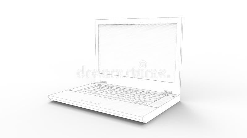 representación 3d de un ordenador portátil aislado en el fondo blanco stock de ilustración