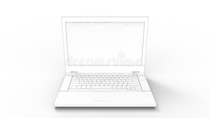 representación 3d de un ordenador portátil aislado en el fondo blanco libre illustration