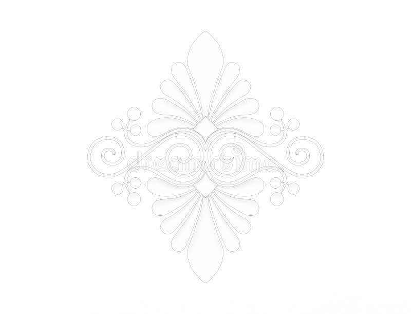 representación 3d de un ornamento floral aislado en el fondo blanco stock de ilustración