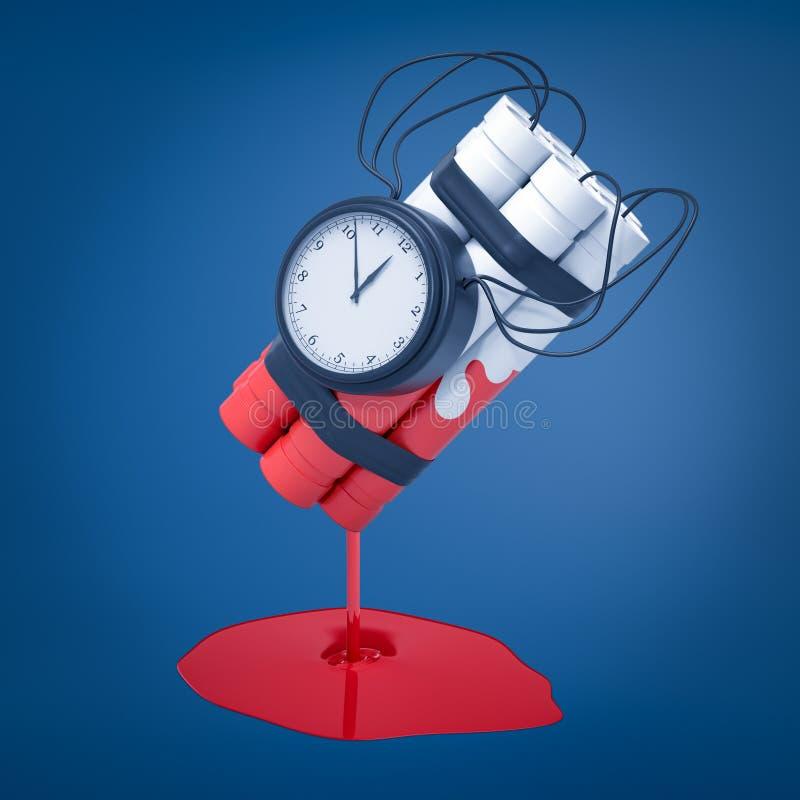 representación 3d de un paquete blanco de la dinamita con una bomba de relojería que se ha sumergido en la pintura roja que todav libre illustration