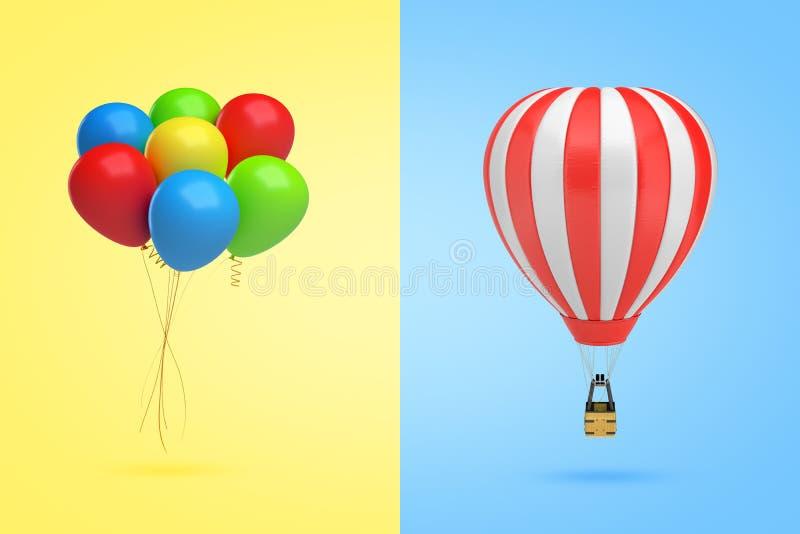representación 3d de un paquete de globos multicolores en fondo amarillo a la izquierda y de un globo de aire caliente en luz stock de ilustración