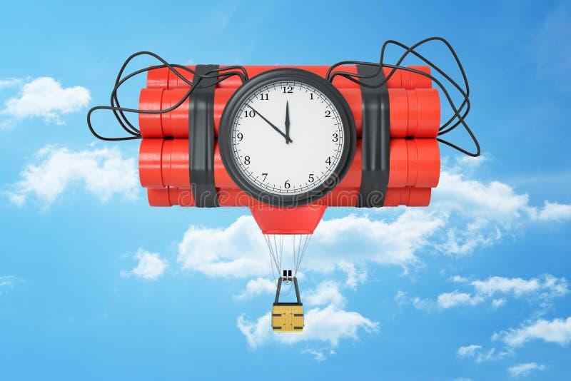 representación 3d de un paquete de la dinamita con una bomba de relojería y con una pequeña góndola del globo de aire caliente at ilustración del vector