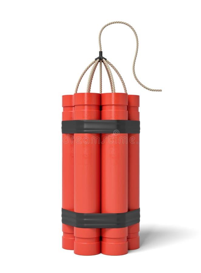 representación 3d de un paquete de palillos de la dinamita que se colocan verticales en un fondo blanco stock de ilustración