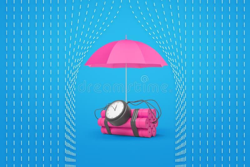 representación 3d de un paquete rosado de la dinamita con una bomba de relojería y un paraguas rosado que lo protegen contra la l ilustración del vector