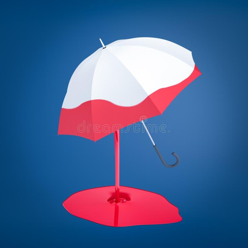 representación 3d de un paraguas blanco que se ha sumergido en la pintura roja que todavía está goteando abajo y está formando un ilustración del vector