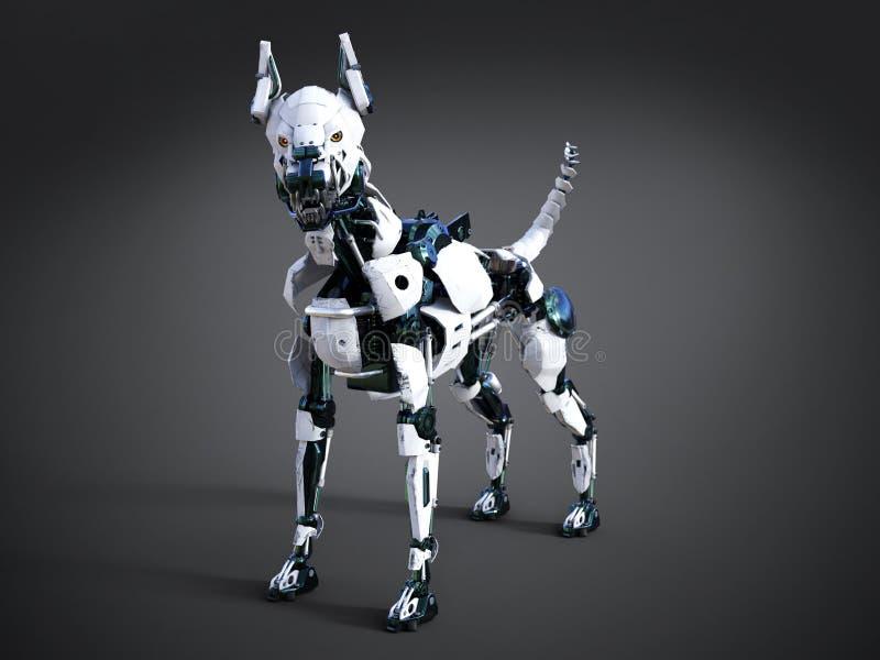 representación 3D de un perro futurista del robot stock de ilustración